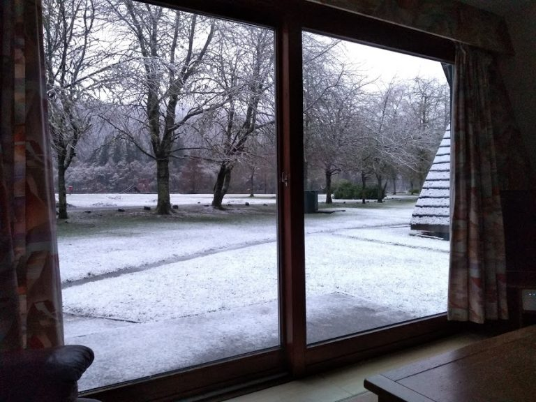 A snowy view