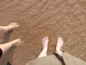 Paddling in the sea